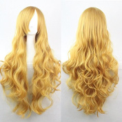 Womens/Ladies 80cm Yellow Colour Long CURLY Cosplay/Costume/Anime/Party/Bangs Full Sexy Wig
