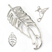 Stones and Findings Exclusive Sterling Silver Feather Pendant Sampler Set - Leaf and Hummingbird