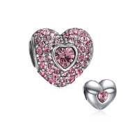 Soufeel 925 Sterling Silver Pink Crystal Heart Charm