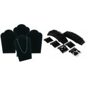 Black Velvet Necklace Easel Jewellery Display & Hanging Earring Cards Kit 104 Pcs