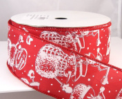 Flurrivil Red and Silver Wired Christmas Ribbon 6.4cm 25 Yards
