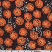 Basketballs Black/Orange Fabric