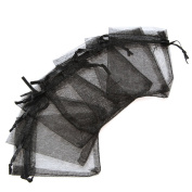 100pcs Black Sheer Organza Jewellery Pouches Wedding Party Favour Gift Bags 7X9cm
