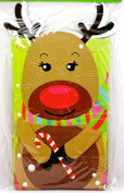 Reindeer Favour Bags,6x Die-cut,Reindeer holding Candy Cane,cardboard/paper,27cm lx 5.13cm w