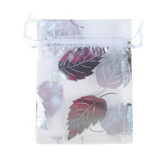 White with Silver Leaves Print 11cm by 8.9cm