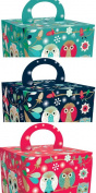 "Roger la Borde Elegant Owl Gift Boxes ""Festive Owls"" 3- Pack"