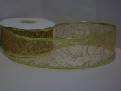 Christmas Ribbon Gold/Gold Swirls Gift Wrapping Wired Ribbon 5.1cm Wide X 25 Yards