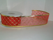 Christmas Ribbon Red/Gold Diamond Shape Gift Wrapping Wired Ribbon 5.1cm Wide X 25 Yards