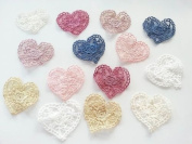 14 Vintage Lace Crochet Pastel Hearts Stick Sew on Fabric Motifs, Craft, Patches