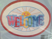 Colourful Welcome Sun Printed Cross Stitch Kit with Frame