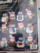 Bucilla Snowmen and Santa Set of 12 Plastic Canvas Ornaments #61217