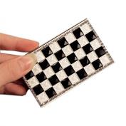 Shinning Rhinestone Classical Black & White Grids Business Card Case/9.5x5.5cm
