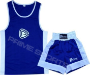 KIDS BOXING UNIFORM 2 PICES SET (TOP & SHORT) BLUE-WHITE, 11 TILL 12 YEAR OLD KIDS
