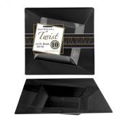 Party Essentials N121017 Hard Plastic Twist/Square Bowls, 350ml, Black