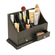 Personal Cosmetics Counter Top Organiser-Black Wood w/ 2 Drawers