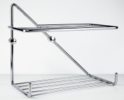 Crom 29cm Wall Mounting Shower Rack w/ Two Shelves. Brass Polished Chrome, Shower Caddies, Made in Spain