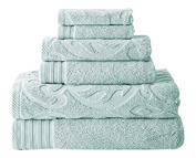 Jacquard/Solid 6-piece Towel Set Medallion Swirl Soft Blue