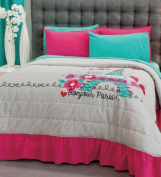 Paris Bedding Collection Bedspread Set, Sheet Set, and Window Panel Twin