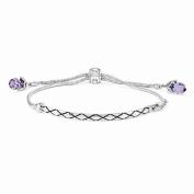 Best Birthday Gift Sterling Silver Reflections Purple. Elements Adj. Bracelet