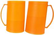 Bright / Vibrant Orange Frozen (Freezer) Beer Mugs Set of 2
