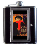 Toulouse Lautrec Ambassadeurs Art 150ml Stainless Steel & Leather Hip Flask with Built-In Cigarette Case
