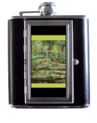 Claude Monet Japanese Gardens at Giverny Impressionist Art 150ml Stainless Steel & Leather Hip Flask with Built-In Cigarette Case