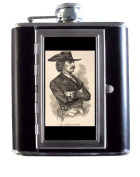The Pirate Jean Lafitte Classic Art 150ml Stainless Steel & Leather Hip Flask with Built-In Cigarette Case