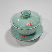 Chinese Traditional Picturesque Design(Vivid Swimming Goldfish) Porcelain Gaiwan Teacup
