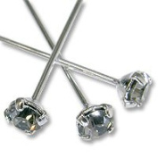 . Head Pin 2.5cm - 1.3cm Black Diamond Sterling Plated