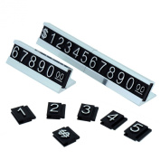 Price Display Counter Stand Label Tag, Adjustable, Silver Number and Base