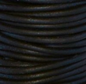 """#402 Natural Black Round Leather Cord 3mm (1/8"""") x 10 metres"""