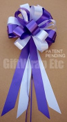 Purple and White Wedding Pew Pull Bows - 20cm Wide, Set of 6