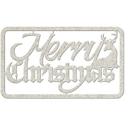 Die-Cut Grey Chipboard Word-Merry Christmas, 13cm x 6.4cm