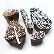 Xmas Tree and Paisley Hand Carved Wooden Block Printing Tags