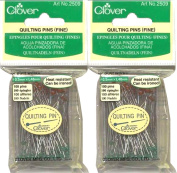 """Two (2) Boxes Quantity 100 Clover Fine Quilting Pins ~ Article No. 2509 ~ 1-7/8"""" Long 0.5mm Glass Head"""