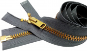 Sale 70cm Extra Heavy Duty Jacket Zipper (Special Custom) YKK #10 Brass Separating ~ Colour 578 Rail Grey
