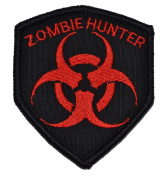 Zombie Hunter Biohazard 3x2.5 Shield Biker / Cosplay Iron On or Sew On Patch - Black with Red