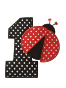 Danha 11cm First Birthday Number One Ladybug Appliqued Iron On Transfer Patch Baby Girls I'm 1 DIY Project Polka Dot Red Black