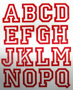 5.1cm Iron-On Jersey Letters in Red Open Style