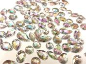 80 Ab Clear Faceted Acrylic Sew On, Stick on Diamante Crystal Rhinestone Gems