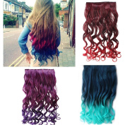 AGPtek 70cm Enstyle Supreme Neon Tangle Curly Hair Extension Ponytail-Rose red to dark purple