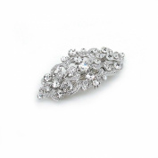 Bridal Hair Barrette Vintage Romancing Heart Rhinestone Crystal Small 5.1cm