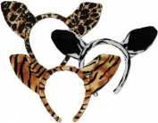 Soft-Touch Animal Print Ears (asstd leopard, tiger, zebra) Party Accessory (1 count)
