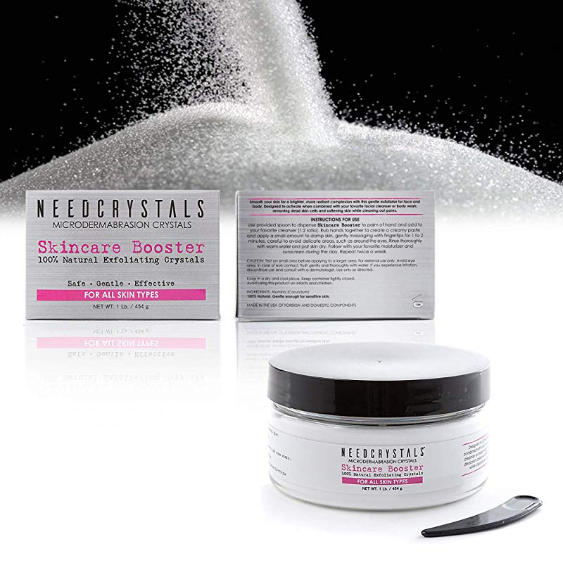 NeedCrystals Microdermabrasion Crystals, DIY Face Scrub  Natural Facial  Exfoliator for Dull or Dry Skin Improves Acne Scars, Blackheads, Pore Size,