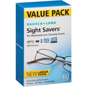 Bauch & Lomb Pre-moistened Lens Wipes to Clean Eyeglasses, Cell Phones, Cameras, Computer Screens and More. 60 Individually Wrapped Wipes