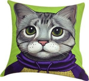 Artiwa Funny & Cute Kitty Cat Cotton & Soft Velvet Sofa Couch Throw Decorative Pillow Cover 46cm x 46cm Green