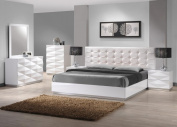 J & M Furniture Verona Modern White Lacquer & Leather Bedroom Set -King Size