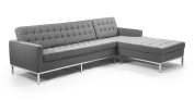 Kardiel Florence Knoll Style Right Sectional, Cadet Grey Cashmere Wool