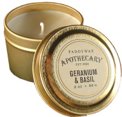 Paddywax Candles Apothecary Collection Candle Tin, 60ml, Geranium and Basil