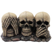 No Evil Skulls Figurine for Scary Halloween Decorations and Spooky Skeleton Statues & Mediaeval Fantasy Home Decor Sculptures and Gothic Gifts